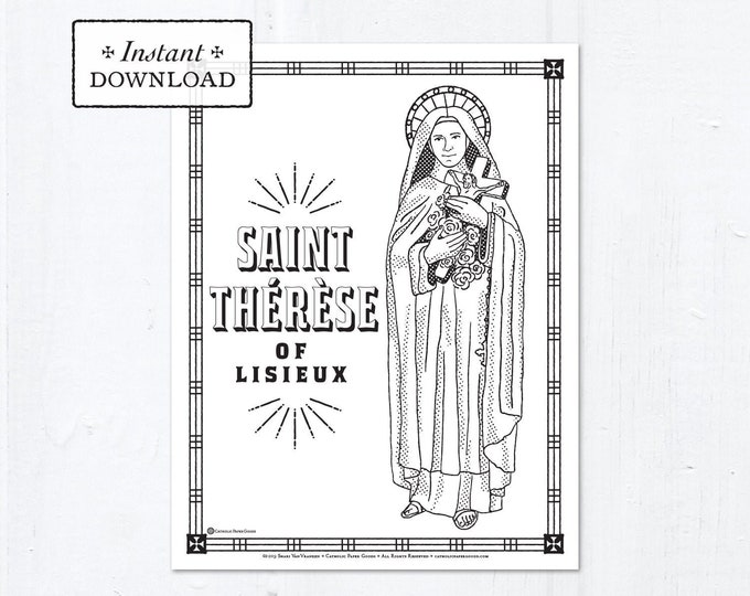 Catholic Coloring Page - Saint Thérèse of Lisieux - Catholic Saints - Printable Coloring Page - Digital - PDF
