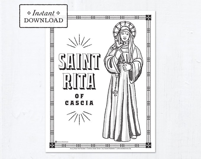 Catholic Coloring Page - Saint Rita of Cascia - Catholic Saints - Printable Coloring Page - Digital - PDF