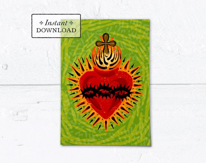 "Catholic Valentine Card Sacred Heart of Jesus - Printable - DIY Downloadable PDF - A7  5""x7"""