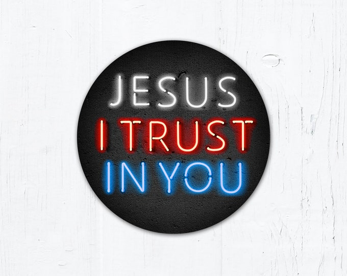"Jesus I Trust in You Divine Mercy Vinyl Sticker 3"" x 3"" Circle Peel & Stick"