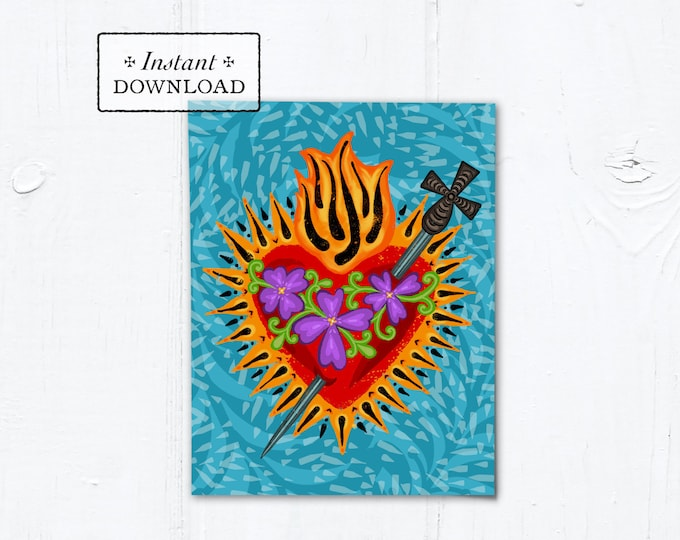 "Catholic Valentine Card Immaculate Heart of Mary - Printable - DIY Downloadable PDF - A2 4.25""x5.5"""