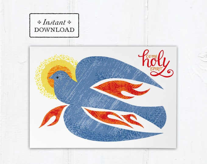 "Catholic Confirmation Greeting Card Blue Dove - Come Holy Spirit - Instant Download - DIY Downloadable PDF 5""x7"""