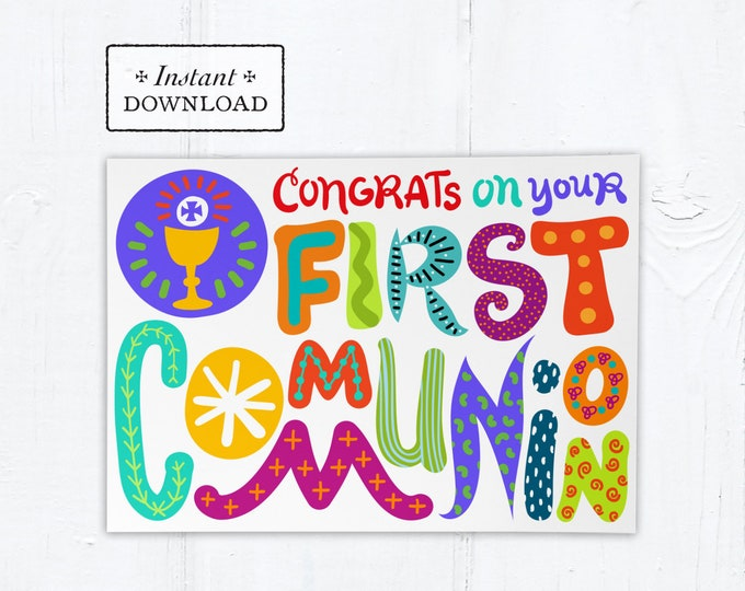 "Catholic First Communion Colorful Hand-lettered Card - Instant Download - DIY Downloadable PDF 5""x7"""
