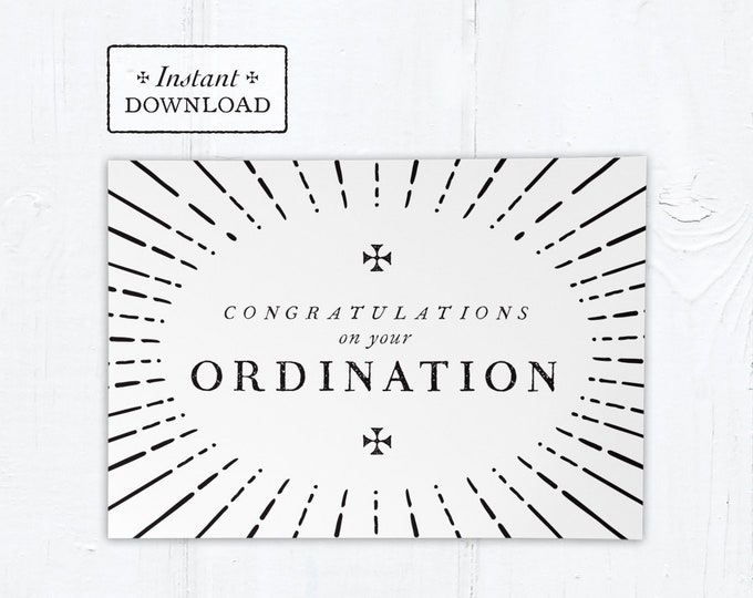 "Catholic Ordination Card Congratulatory Black & White - Instant Download - DIY Downloadable PDF 5""x7"""
