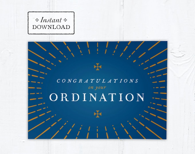 "Catholic Ordination Card Congratulatory Blue & Gold - Instant Download - DIY Downloadable PDF 5""x7"""