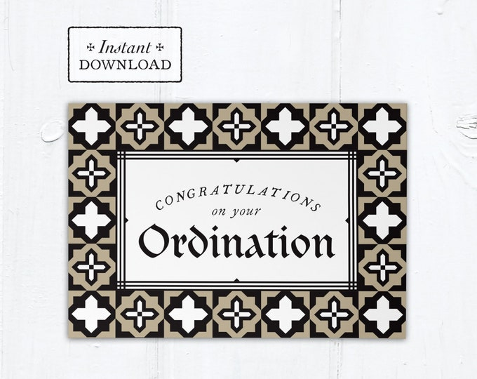 "Catholic Ordination Card Priest or Deacon - Instant Download - DIY Downloadable PDF 5""x7"""