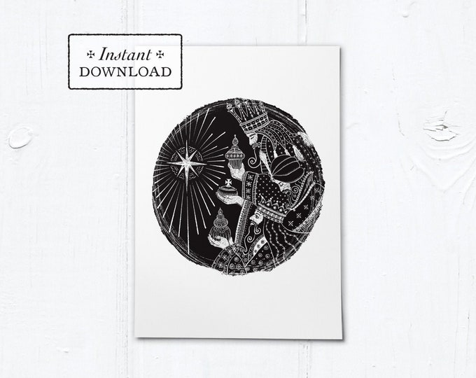 "Three Kings Woodcut Black & White Greeting Card - Instant Download - DIY Downloadable PDF 5""x7"""