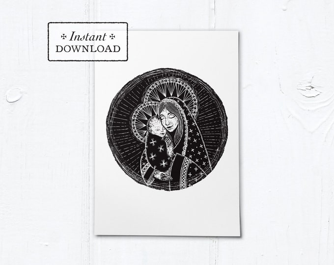 "Madonna and Child Woodcut Black & White Greeting Card - Instant Download - DIY Downloadable PDF 5""x7"""