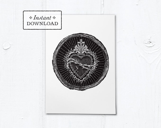 "Sacred Heart Woodcut Black & White Greeting Card - Instant Download - DIY Downloadable PDF 5""x7"""