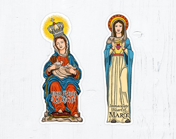 Our Lady of La Leche OR Immaculate Heart of Mary 4 Inch Cut Vinyl Peel & Stick Stickers Catholic Stickers Catholic Decals