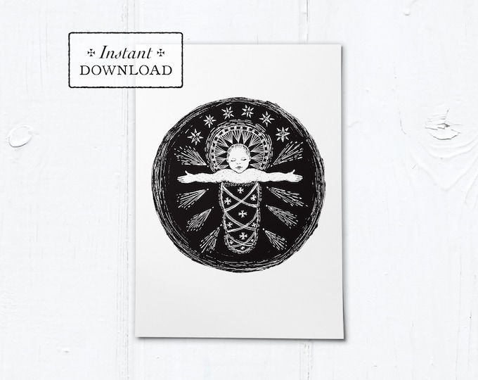 "Infant Jesus Woodcut Black & White Greeting Card - Instant Download - DIY Downloadable PDF 5""x7"""