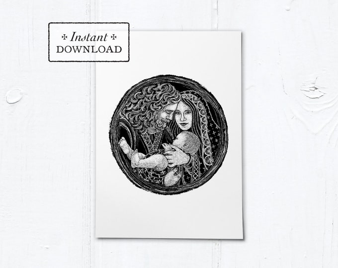 "Holy Family Woodcut Black & White Greeting Card - Instant Download - DIY Downloadable PDF 5""x7"""