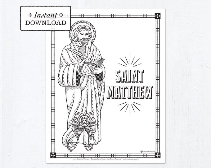Catholic Coloring Page - Saint Matthew - Catholic Saints - Printable Coloring Page - Digital - PDF