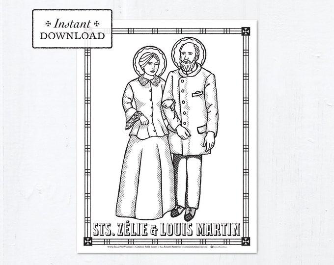Catholic Coloring Page - Saints Zélie & Louis Martin - Catholic Saints - Printable Coloring Page - Digital - PDF
