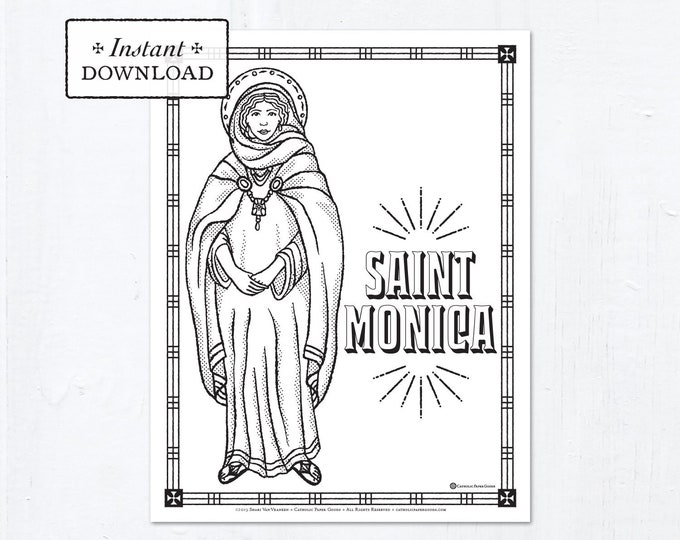 Catholic Coloring Page - Saint Monica - Catholic Saints - Printable Coloring Page - Digital - PDF