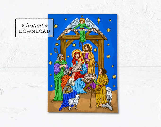 "Catholic Christmas Card The Nativity of Jesus Instant Download - DIY Downloadable PDF 5"" x 7"" A7"
