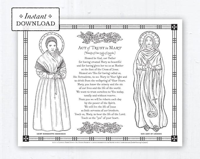 Catholic Coloring Page, Our Lady of Lourdes, Saint Bernadette Soubirous, Catholic Saints, Prayer, Printable Coloring Page, Digital, PDF