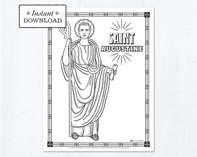 Catholic Coloring Page - Saint Augustine - Catholic Saints - Printable Coloring Page - Digital - PDF