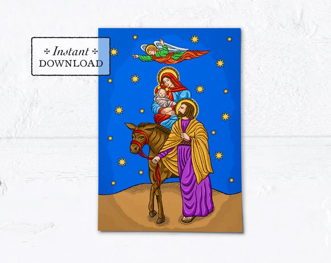 "Catholic Christmas Card The Flight to Egypt Instant Download - DIY Downloadable PDF 5"" x 7"" A7"