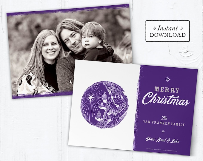 Catholic Christmas Card - Digital Photoshop Christmas Photo Card Template Three Kings - DIY - PSD Template - Photo Christmas Card Template