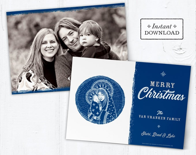 Catholic Christmas Card - Digital Photoshop Christmas Photo Card Template Mary & Jesus - DIY - PSD Template - Photo Christmas Card Template