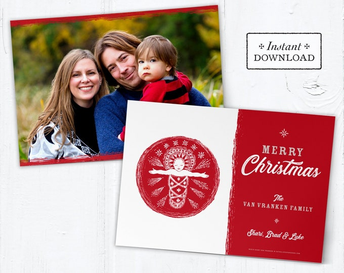 Catholic Christmas Card - Digital Photoshop Christmas Photo Card Template Jesus - DIY - PSD Template - Photo Christmas Card Template
