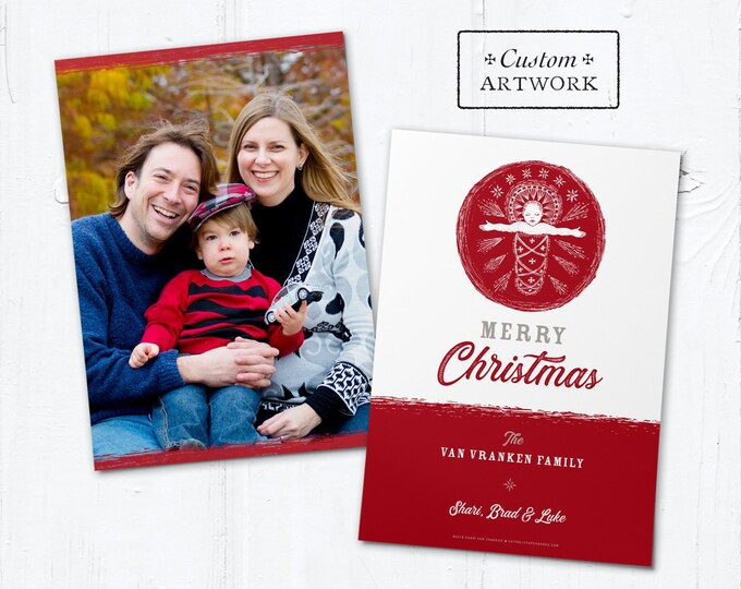 "Catholic Christmas Photo Card Customizable Baby Jesus - DIY - Print it Yourself - Portrait or Landscape - Downloadable Template 5""x7"""