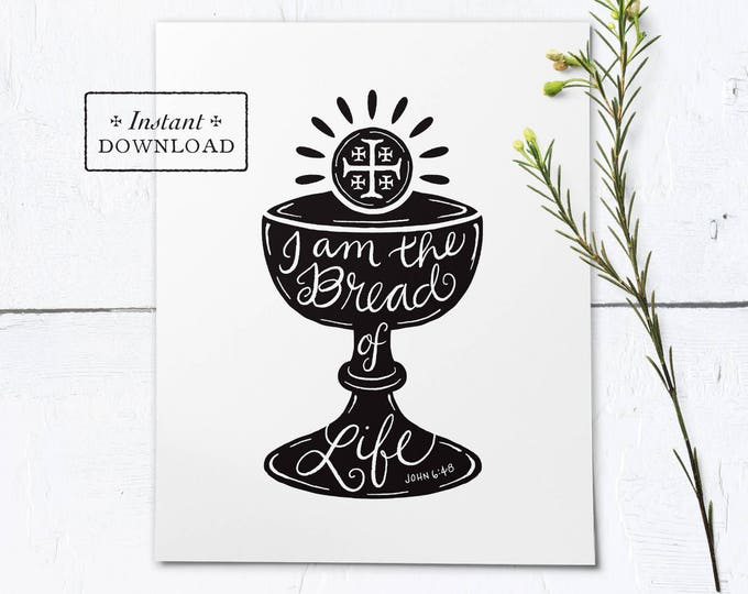 "Catholic First Communion Frameable Black & White Art Print - Instant Download - DIY Downloadable PDF 8""x10"""