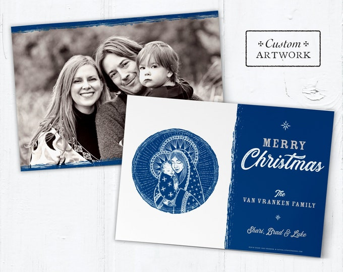 "Catholic Christmas Photo Card Customizable Mary & Jesus - DIY - Print it Yourself - Portrait or Landscape - Downloadable Template 5""x7"""