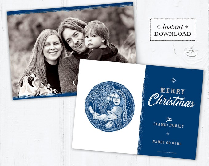 Catholic Christmas Card - Digital Photoshop Christmas Photo Card Template Holy Family - DIY - PSD Template - Photo Christmas Card Template