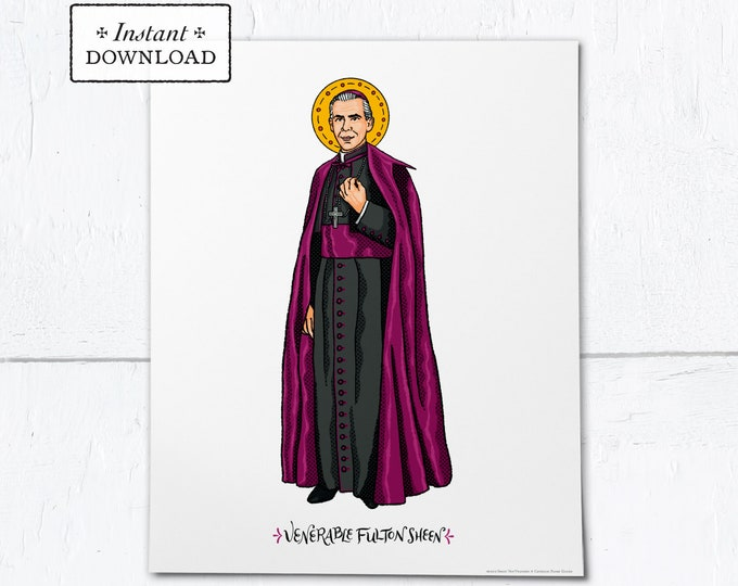 "Venerable Fulton Sheen Frameable Art Print - Instant Download - DIY Downloadable PDF 8""x10"""