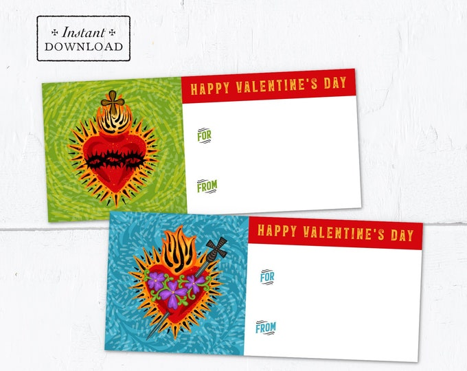 Sacred Heart & Immaculate Heart Catholic Valentine Exchange Cards - Printable - DIY Instant Downloadable PDF - 8.5x11 - 2 Card Designs