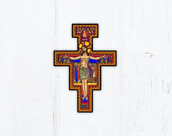 "San Damiano Cross Franciscan Cross Vinyl Sticker 2.4"" x 3"" Peel & Stick"