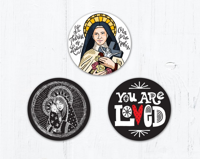 "Set of 3 Catholic Stickers 2"" Vinyl Stickers - St. Thérèse of Lisieux  - Madonna and Child - You Are Loved - Weatherproof  Peel & Stick"