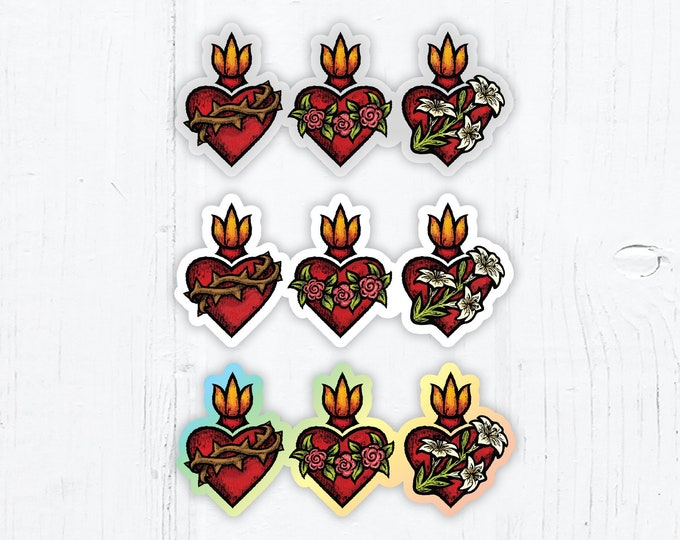 Sacred Heart, Immaculate Heart and Chaste Heart of St. Joseph Die Cut Vinyl Stickers 3 Inch Peel & Stick, White, Clear, Holographic Stickers