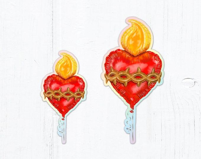 "Sacred Heart Balloon Die Cut Vinyl Sticker Holographic Sticker 3"" Tall Peel & Stick Catholic Sticker Sacred Heart of Jesus Sticker"