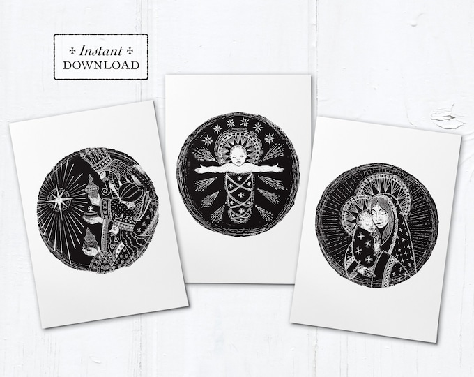 "Catholic Christmas Digital Woodcut Greeting Cards Set of 3 Designs Instant Download - DIY Downloadable PDF 5""x7"""