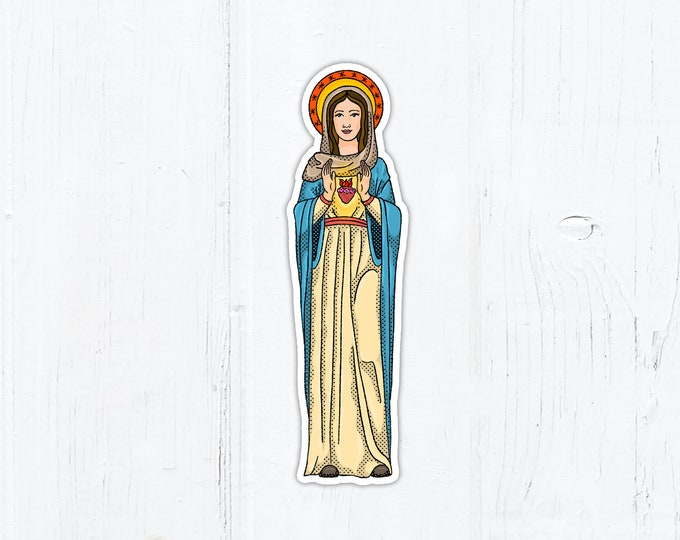 "Immaculate Heart of Mary Vinyl Die Cut Sticker 1"" x 3"" Peel & Stick"