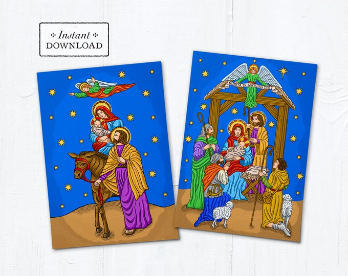 """Catholic Christmas Card Set: The Flight to Egypt & The Nativity of Jesus Instant Download - DIY Downloadable PDF 5"""" x 7"""" A7"""