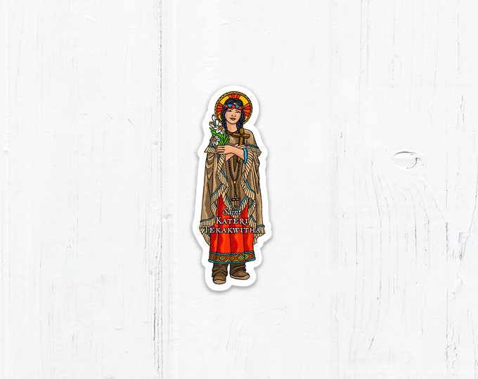 3 Inch Saint Sticker St. Kateri Die Cut Vinyl Peel & Stick