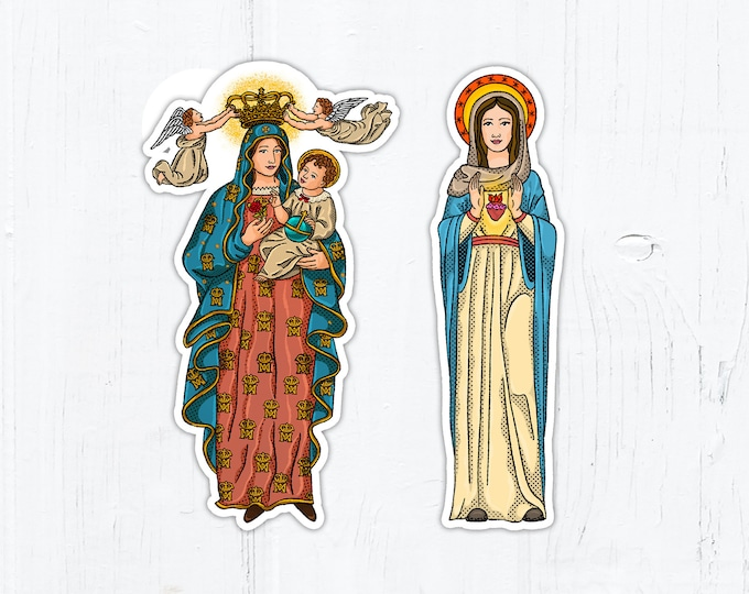 "Salve Regina Mary Queen of Heaven Immaculate Heart of Mary Vinyl Die Cut Stickers 3"" Peel & Stick Catholic Stickers"