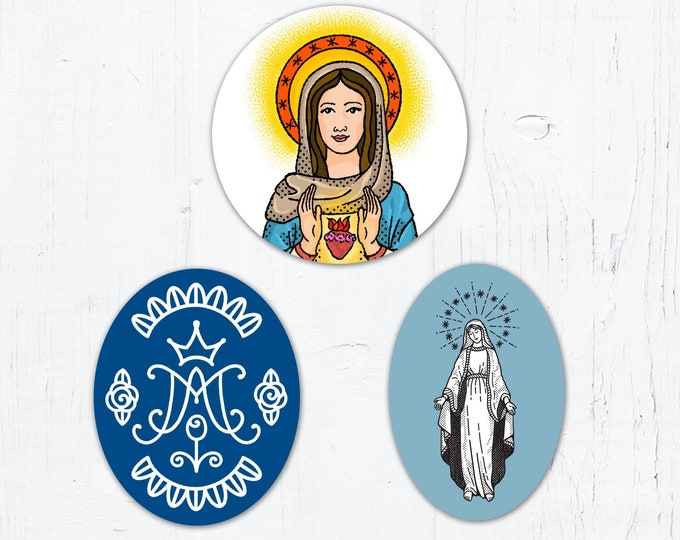 "Marian Stickers: Blessed Virgin Mary Oval, Auspice Maria/Ave Maria Monogram OR Immaculate Heart of Mary Vinyl Stickers 3"" Peel & Stick"