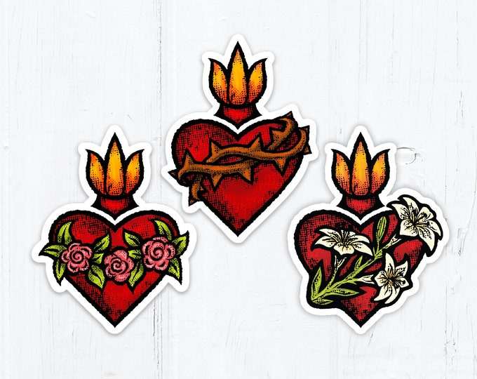 Sacred Heart OR Immaculate Heart OR Chaste Heart of St. Joseph Die Cut Vinyl Stickers 3 Inch Peel & Stick