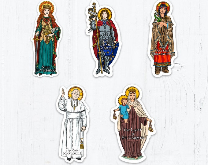 St. Joan of Arc, St. Dymphna, St. Kateri, Pope St. John Paul II, Our Lady of Mt. Carmel Die Cut Vinyl Stickers 3 Inch Peel & Stick