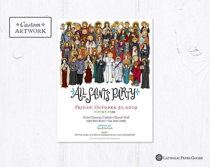 "All Saints Day Party Invitation Flyer Customizable Template - Downloadable PDF 8.5""x11"""
