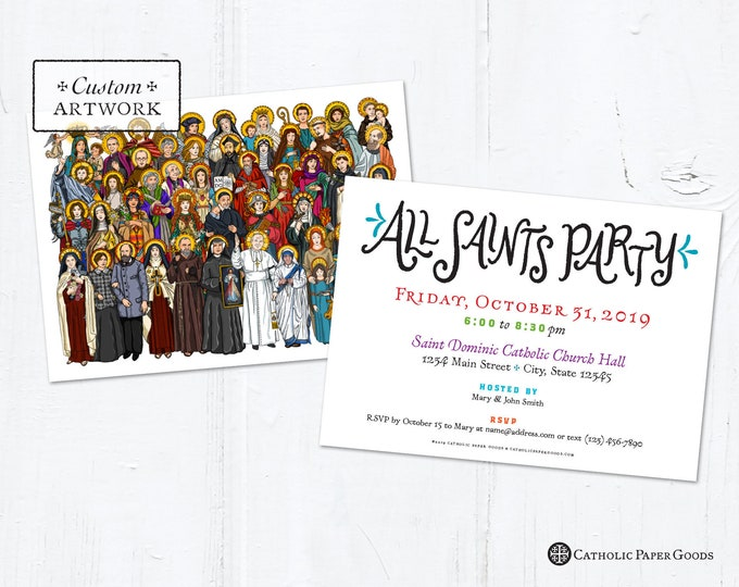 "All Saints Day Party Invitation Customizable Template - Downloadable PDF 5""x7"""