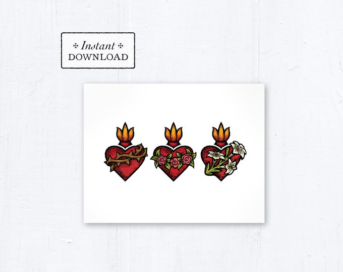 """Catholic Greeting Card Sacred Heart Immaculate Heart Chaste Heart Row - Printable - DIY Downloadable PDF - A2 4.25""""x5.5"""""""