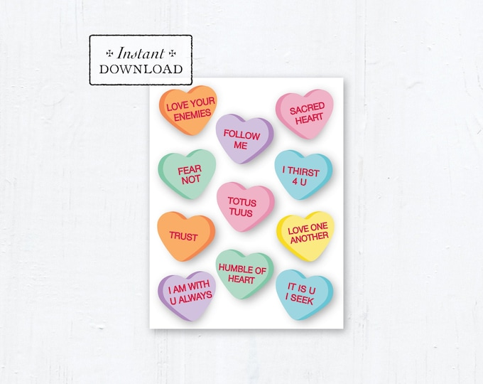 "Catholic Conversation Hearts Valentine Card - Printable - DIY Downloadable PDF - A2 4.25""x5.5"""