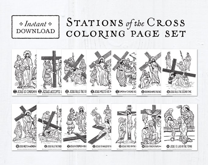 Catholic Coloring Pages - Stations of the Cross - Bundle of 14 - Lent Activity for Kids - Printable Coloring Pages - Digital - PDF