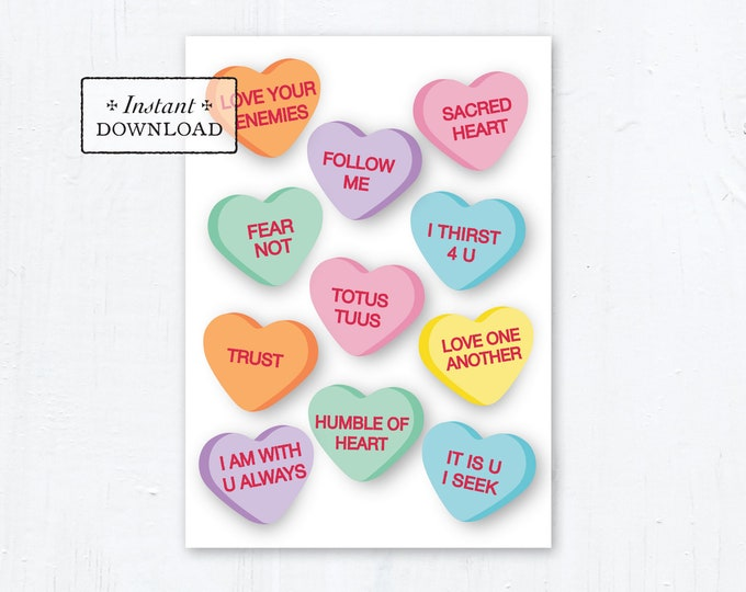 "Catholic Conversation Hearts Valentine Card - Printable - DIY Downloadable PDF - A7 5""x7"""